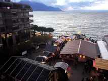 2017 Nov 24 Montreux Swiss - Aerial view of Christmas Market and old city in Montreux, Switzerland.  Royalty Free Stock Photos