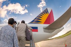 Nov 16,2017 Passenger on board airplane at Boracay airport stock images