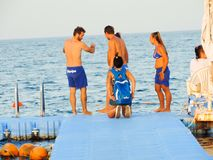 Peoples snorkeling at Red Sea - Sharm Elshiekh - Egypt Royalty Free Stock Image