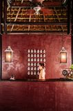 Luxury asian Thai resort reception with high wooden ceiling, war stock photos