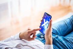 NOVA BANA, ΣΛΟΒΑΚΊΑ - 14 ΔΕΚΕΜΒΡΊΟΥ 2017: Νέο iPhone Χ της Apple smartphone Στοκ φωτογραφία με δικαίωμα ελεύθερης χρήσης