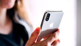 NOVA BANA, SLOVAKIA - NOV 28, 2017: New Apple iPhone X smartphone. stock photography