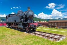 Nova Gorica Gorizia, Slovenië: Oude stoom locomotiv stock afbeeldingen