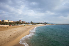 Nova Icaria Beach in Barcelona Royalty Free Stock Photography