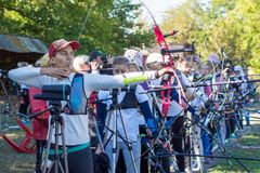 Nova Kakhovka, Ukraine, le 3 octobre 2018 championnat de tir à l'arc de l'Ukraine photographie stock