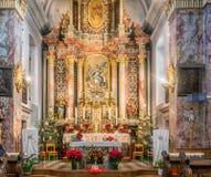 Nova Ponente Italien - december 30, 2017: Kloster av Pietralba nära Monte San Pietro, Nova Ponente, södra Tyrol, Italien Mest arkivfoto