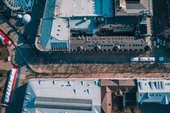 Nova Poshta Kyiv Half Marathon. Aerial view. Nova Poshta Kyiv Half Marathon. April 7, 2019. Ukraine. Kiev aerial shooting of athletes stock images