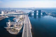 Nova Poshta Kyiv Half Marathon. Aerial view. Nova Poshta Kyiv Half Marathon. April 7, 2019. Ukraine. Kiev aerial shooting of athletes stock photos