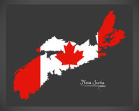Nova Scotia Canada map with Canadian national flag illustration. Nova Scotia Canada map with Canadian national flag Royalty Free Stock Image