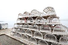 Nova Scotia Lobster Traps Kanada royaltyfri fotografi