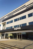 Nova television CME company logo on the headquarters building on January 18, 2017 in Prague, Czech republic. Royalty Free Stock Images