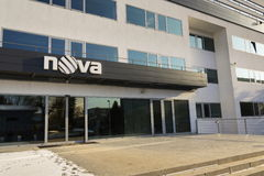 Nova television CME company logo on the headquarters building on January 18, 2017 in Prague, Czech republic. Stock Image