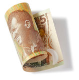 Nova Zelândia dinheiro de cinco dólares Fotos de Stock Royalty Free