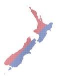 Nova Zelândia Dot Map Red And Blue Imagem de Stock