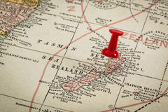 Nova Zelândia no mapa do vintage imagens de stock