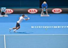 Novak Djokovic играя в открытом чемпионате Австралии по теннису стоковые изображения