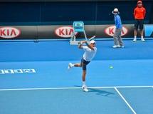 Novak Djokovic играя в открытом чемпионате Австралии по теннису стоковое фото