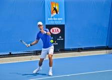 Novak Djokovic практикуя в открытом чемпионате Австралии по теннису стоковая фотография