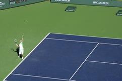 Djokovic Aufschläge in Indian Wells 2013 Stockfotografie