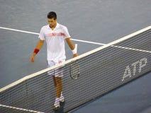 Novak Djokovic nachdem dem Gewinnen Lizenzfreie Stockfotografie