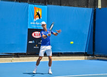 Novak Djokovic practicing in the Australian Open Royalty Free Stock Photography