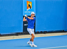Novak Djokovic practicing in the Australian Open Stock Images