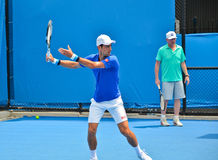 Novak Djokovic practicing with Boris Becker Royalty Free Stock Images