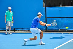 Novak Djokovic practicing with Boris Becker Royalty Free Stock Photos