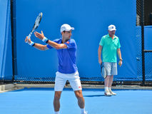 Novak Djokovic practicing with Boris Becker Royalty Free Stock Photo