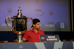 Novak Djokovic at the press conference Stock Images