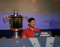 Novak Djokovic at the press conference Royalty Free Stock Photos