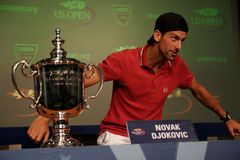 Novak Djokovic at the press conference Stock Photography