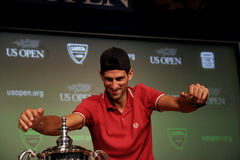 Novak Djokovic at the press conference Stock Image