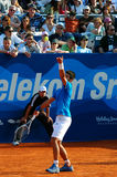Novak Djokovic served against Lukasz Kubot Stock Photo