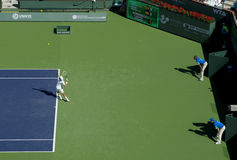 Novak Djokovic serves at Indian Wells 2013 Stock Photo