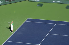 Djokovic Serves at Indian Wells 2013 Stock Photography