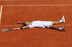 Novak Djokovic (SRB) en Roland Garros 2011 Foto de archivo