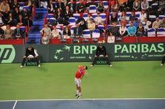 Novak Djokovic to serve. Davis Cup Finals 2010, held in Belgrade Arena, December 3-5 2010. In this picture: Best ranking Serbian player Novak Djokovic, serving Stock Images