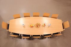 Conference table isolated. Top view stock photo