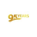 Novantacinquesimo logo dorato astratto isolato di anniversario su fondo bianco un logotype di 95 numeri Novantacinque anni di giu Fotografia Stock