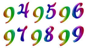 Novantaquattro, novantacinque, novantasei, novantasette, novantotto, novanta nove, 94, 95, 96, 97, 98, 99 3D calligrafici resi royalty illustrazione gratis