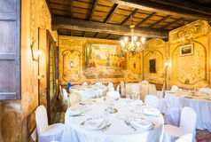 Novara Piedmont Italy,Villa Camilluccia 15 April 2017. Wedding reception tables. Novara Piedmont Italy,Villa Camilluccia 15 April 2017. Tables decorated for a Stock Photo
