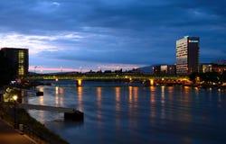 Novartis/Dreirosenbrà ¼cke f.m. Rhein Fotografering för Bildbyråer