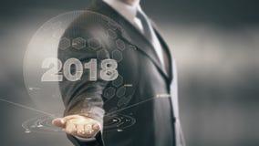 Novas tecnologias 2018 disponivéis de Holding do homem de negócios ilustração stock