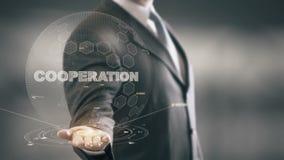 Novas tecnologias disponivéis de Holding do homem de negócios da tecnologia da cooperação ilustração stock