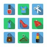 Nove ícones diferentes em um estilo liso Fotos de Stock