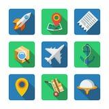 Nove ícones diferentes em um estilo liso Fotografia de Stock