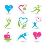 Nove ícones que simbolizam o coração saudável Imagens de Stock Royalty Free