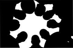Nove amici sono nel cerchio illustrazione di stock