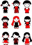 Nove bambole nere rosse delle ragazze. Immagine Stock Libera da Diritti